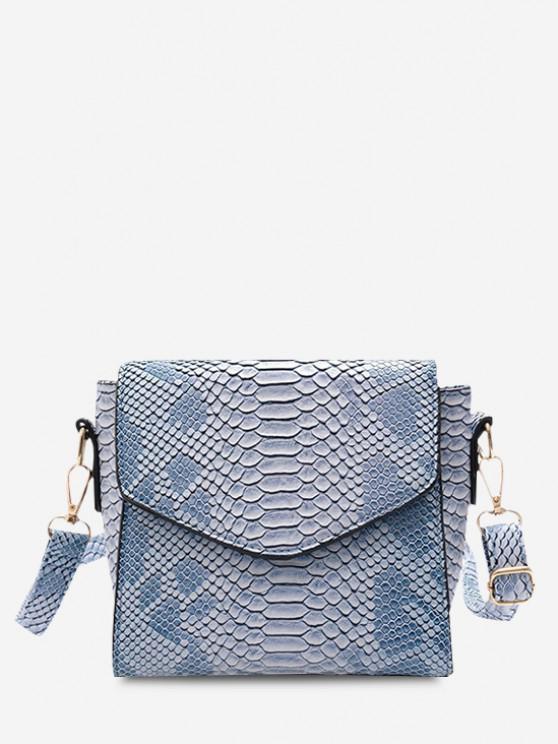 sale Snake Embossed Flap Square Crossbody Bag - CORAL BLUE