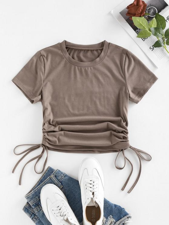 trendy Cinched Side Short Sleeve T Shirt - LIGHT COFFEE M
