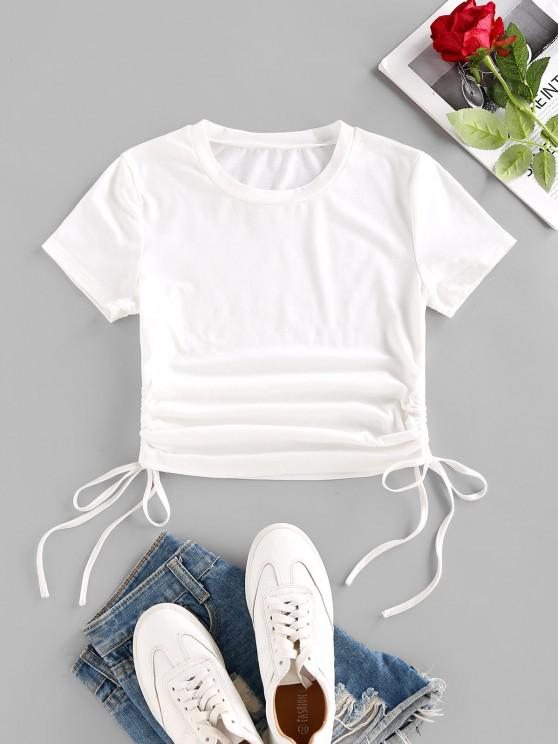 women Cinched Side Short Sleeve T Shirt - WHITE S