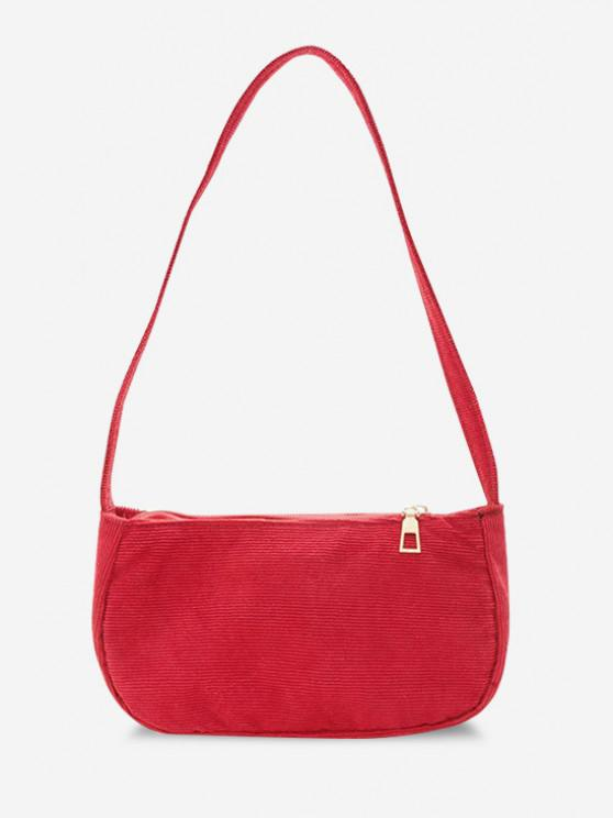 outfits Solid Corduroy Casual Mini Shoulder Bag - RED