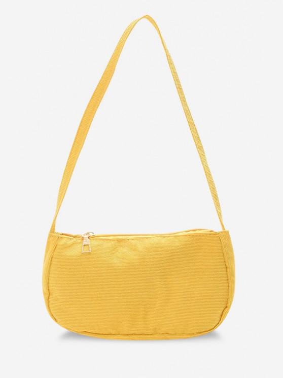 shop Solid Corduroy Casual Mini Shoulder Bag - SUN YELLOW