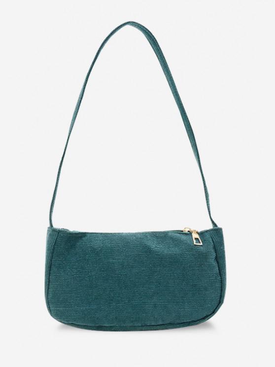 shops Solid Corduroy Casual Mini Shoulder Bag - PEACOCK BLUE
