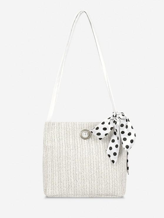 sale Woven Faux Pearl Embellished Ribbon Shoulder Bag - WARM WHITE