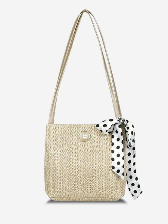affordable Woven Faux Pearl Embellished Ribbon Shoulder Bag - LIGHT KHAKI