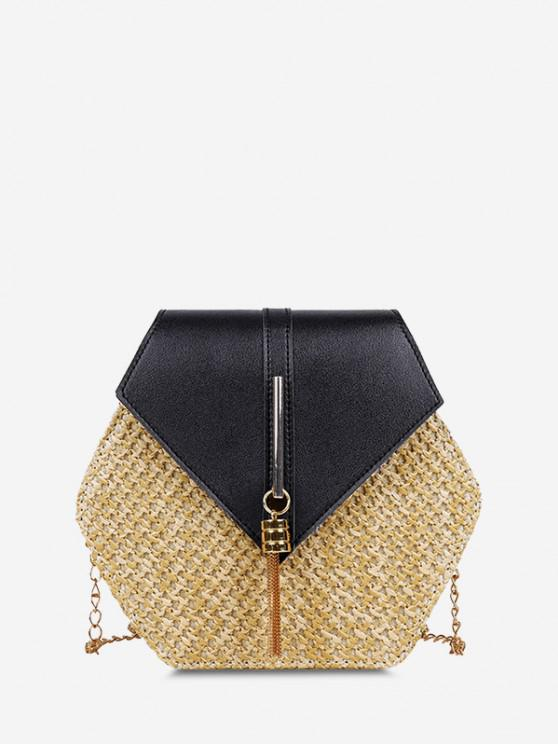 lady Hexagon Woven Tassel Flap Crossbody Bag - BLACK