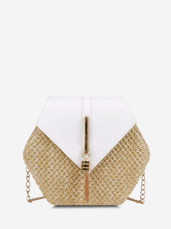 best Hexagon Woven Tassel Flap Crossbody Bag - MILK WHITE