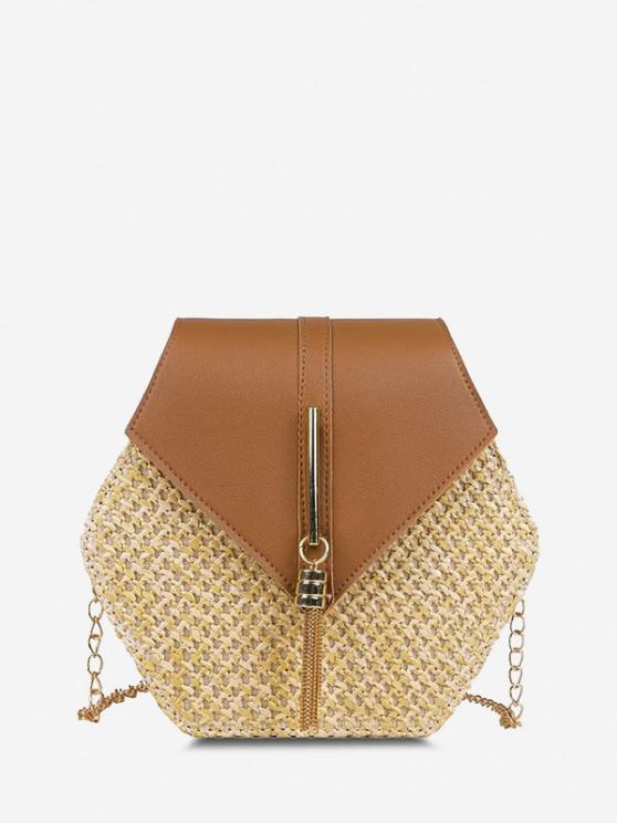 online Hexagon Woven Tassel Flap Crossbody Bag - LIGHT BROWN
