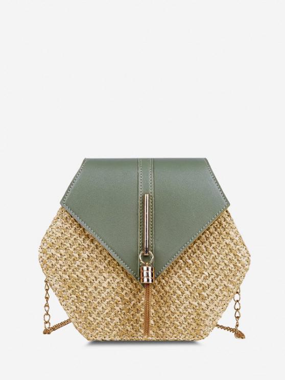 new Hexagon Woven Tassel Flap Crossbody Bag - LIGHT GREEN