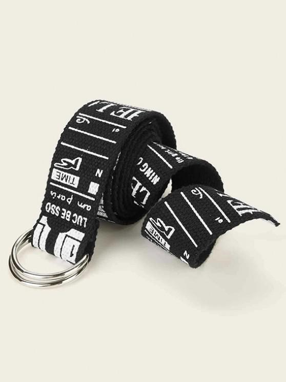 Letter Graphic Print Canvas Waist Belt - أسود
