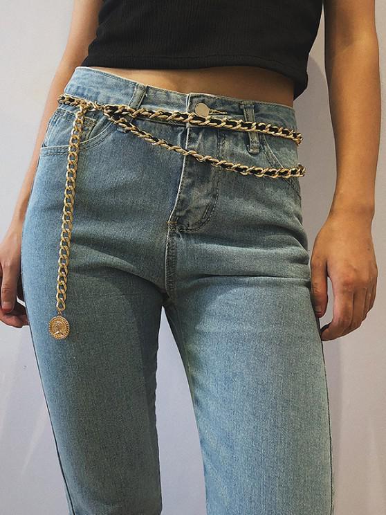 Coin Pendant Layered Waist Chain - ذهبي