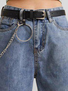 Ring Chain Pin Buckle Jeans Belt - Black
