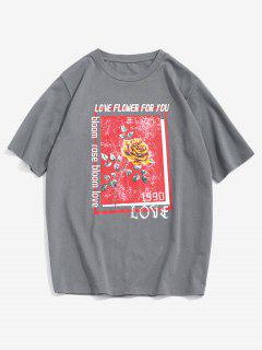 ZAFUL Letter Rose Flowers Print Graphic T-shirt - Gray L