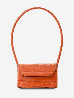 Boxy Embossed Flap Mini Shoulder Bag - Tangerine