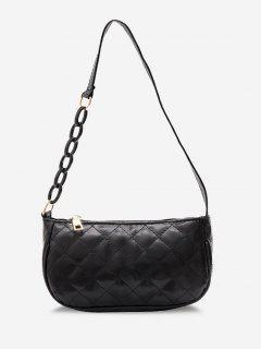 Lattice Quilted Half Chain Rectangular Shoulder Bag - Black