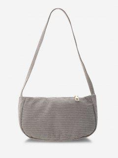 Solid Corduroy Casual Mini Shoulder Bag - Gray Goose
