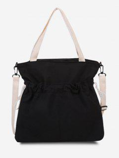 Drawstring Dual Handle Oversize Tote Bag - Black