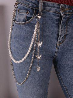 Butterfly Charm Faux Pearl Trousers Chain - Silver