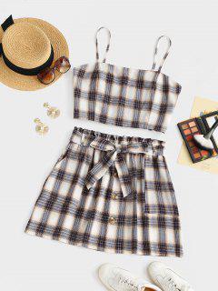 ZAFUL Plus Size Checked Smocked Back Two Piece Dress - Multi Xl
