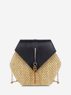 Hexagon Woven Tassel Flap Crossbody Bag - Black