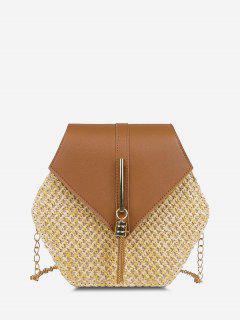 Hexagon Woven Tassel Flap Crossbody Bag - Light Brown