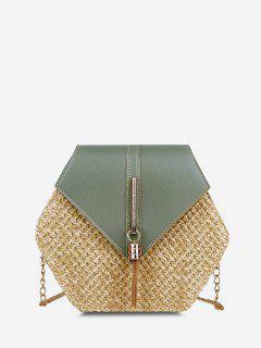 Hexagon Woven Tassel Flap Crossbody Bag - Light Green