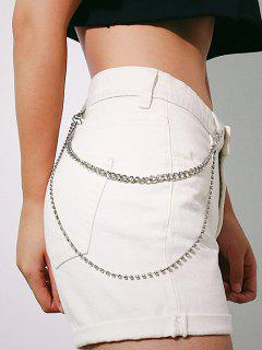 Layered Rhinestones Trousers Chain - Silver