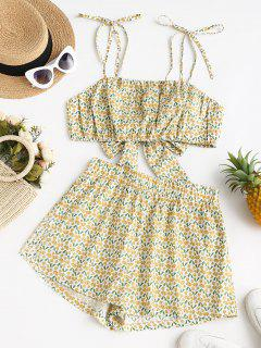 ZAFUL Tiny Floral Tie Shoulder Vacation Two Piece Set - Deep Yellow M