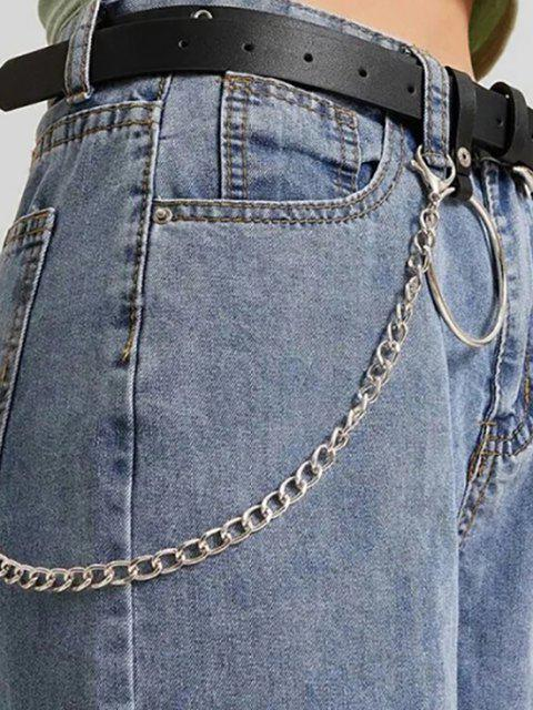 latest Ring Chain Pin Buckle Jeans Belt - BLACK  Mobile