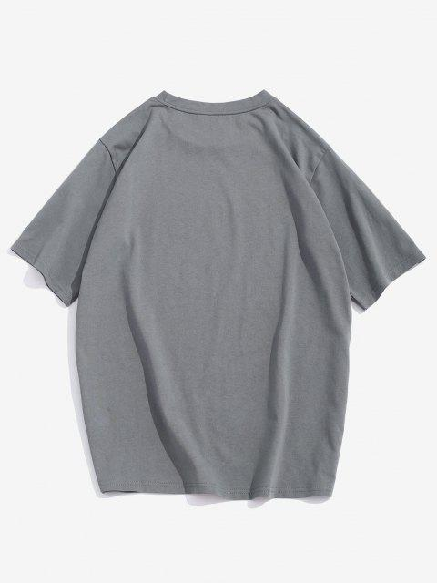 T-Shirt Grafica a Rosa e Lettere di ZAFUL - Grigio XL Mobile