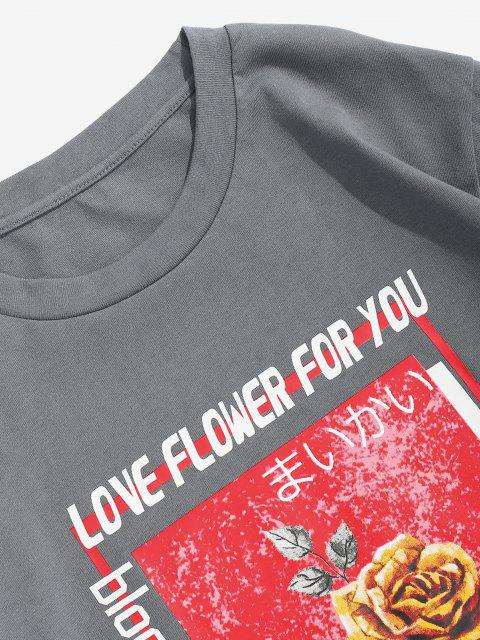 hot ZAFUL Letter Rose Flowers Print Graphic T-shirt - GRAY L Mobile