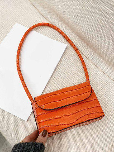 hot Boxy Embossed Flap Mini Shoulder Bag - TANGERINE  Mobile