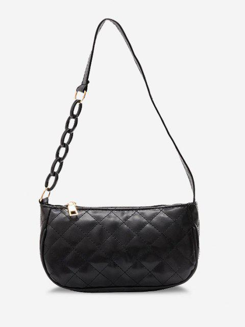outfits Lattice Quilted Half Chain Rectangular Shoulder Bag - BLACK  Mobile