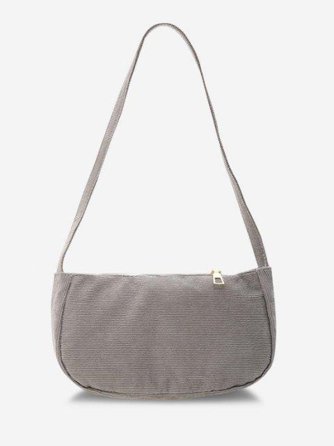 chic Solid Corduroy Casual Mini Shoulder Bag - GRAY GOOSE  Mobile