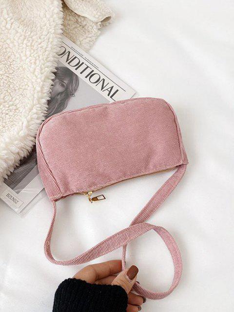 Einfarbige Cord Lässige Mini Umhängetasche - Schwein Rosa  Mobile