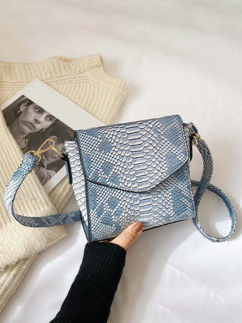sale Snake Embossed Flap Square Crossbody Bag - CORAL BLUE  Mobile
