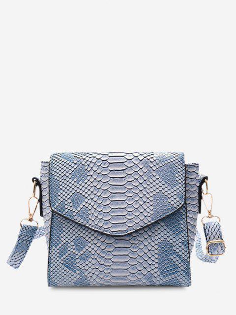 Snake Embossed Flap Square Crossbody Bag - كورال بلو  Mobile