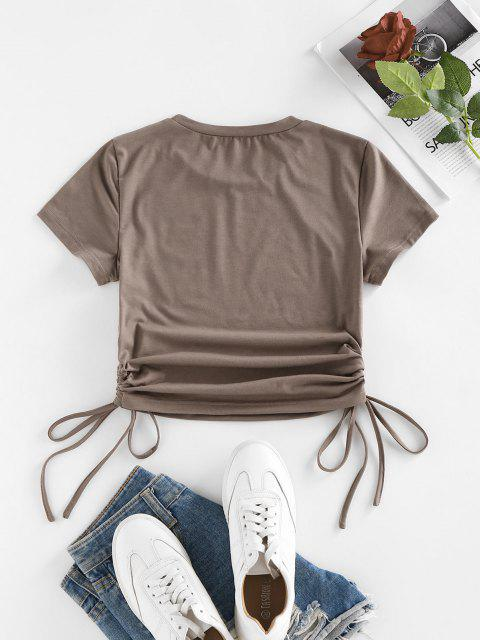 Cinched Side Short Sleeve T Shirt - القهوة الخفيفة S Mobile