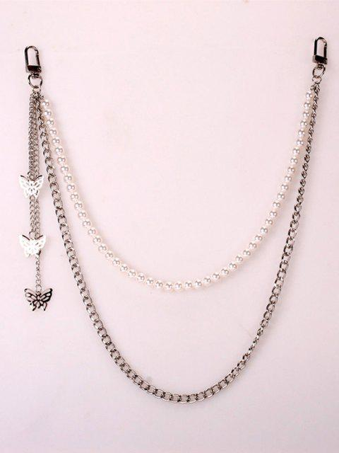 chic Butterfly Charm Faux Pearl Trousers Chain - SILVER  Mobile