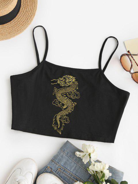 ZAFUL Camisole Courte Dragon Chinois Imprimé de Grande Taille - Noir 5XL Mobile
