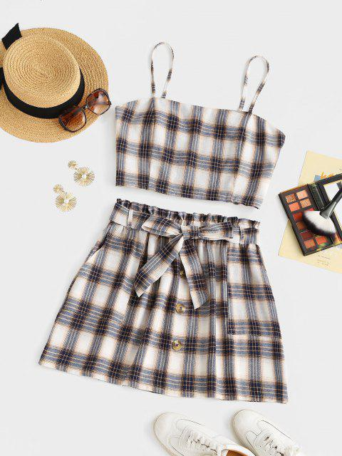 sale ZAFUL Plus Size Checked Smocked Back Two Piece Dress - MULTI XL Mobile