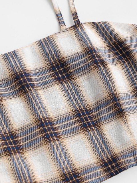 ZAFUL Robe à Carreaux Plissé Au Dos de Grande Taille Deux Pièces - Multi 3XL Mobile
