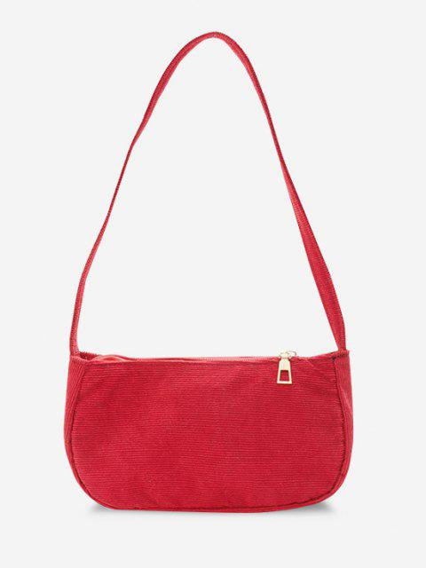 outfits Solid Corduroy Casual Mini Shoulder Bag - RED  Mobile