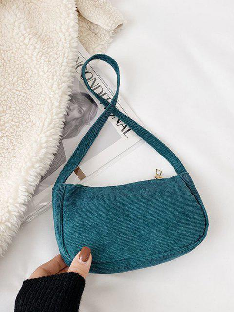 shops Solid Corduroy Casual Mini Shoulder Bag - PEACOCK BLUE  Mobile
