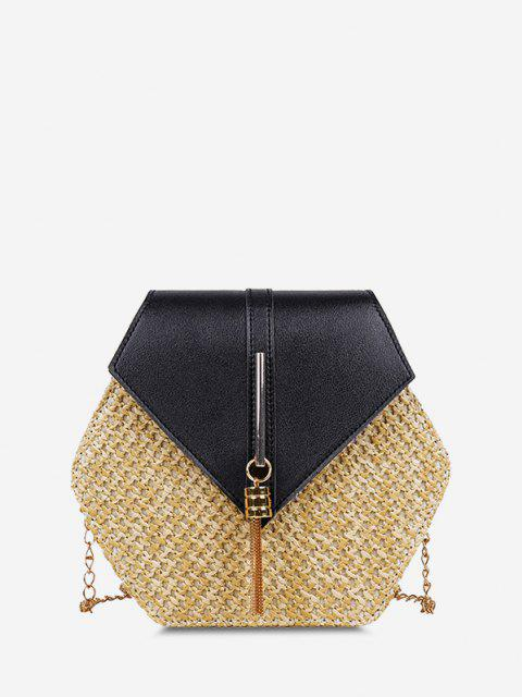 lady Hexagon Woven Tassel Flap Crossbody Bag - BLACK  Mobile