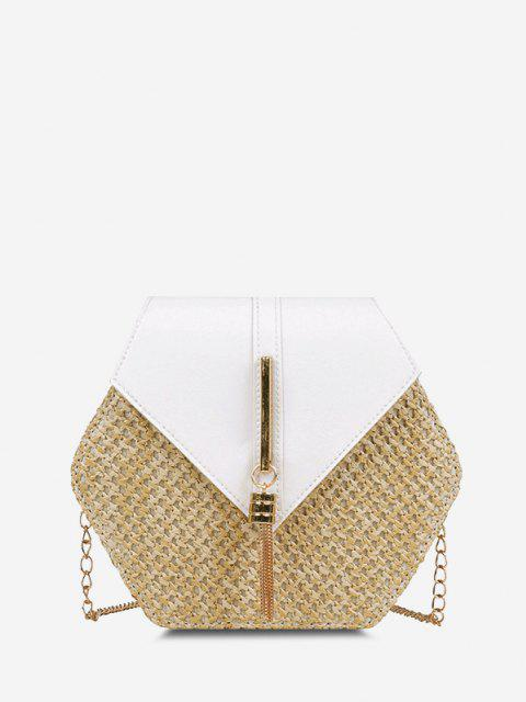 best Hexagon Woven Tassel Flap Crossbody Bag - MILK WHITE  Mobile