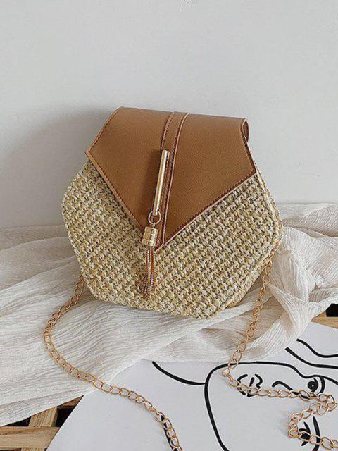 online Hexagon Woven Tassel Flap Crossbody Bag - LIGHT BROWN  Mobile
