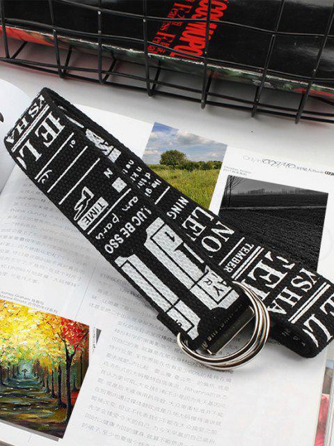 Letter Graphic Print Canvas Waist Belt - أسود  Mobile