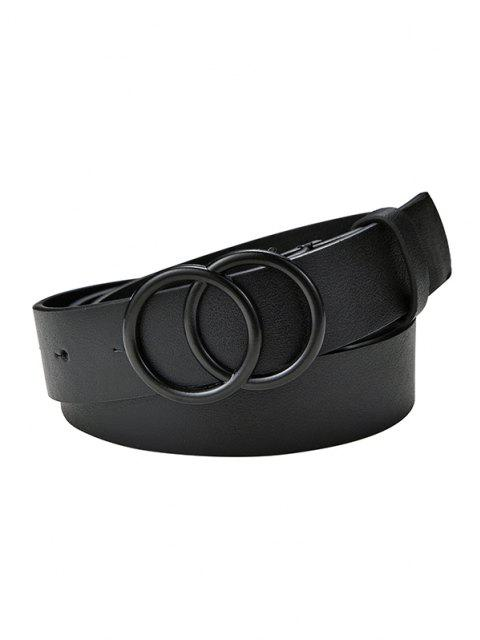 Solid Dual Circle Buckle Belt - أسود  Mobile