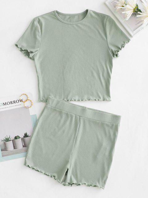 best ZAFUL Ribbed Lettuce Trim Lounge Two Piece Set - LIGHT GREEN L Mobile