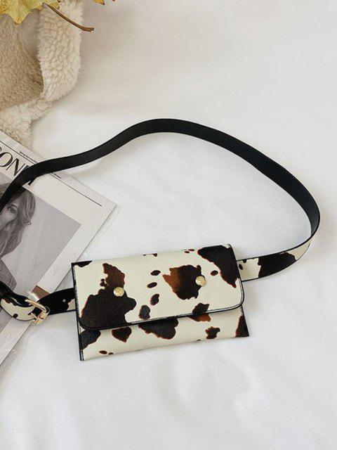 chic Cow Print Detachable PU Belt Bag - WARM WHITE  Mobile